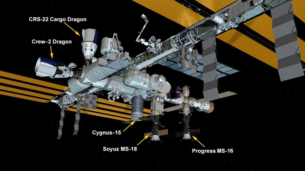 Configuración de la EEI tras la llegada de la Dragon 22 – NASA