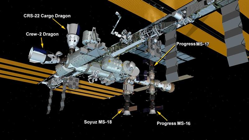 Configuración de la EEI con la Progress MS-17 atracada – NASA