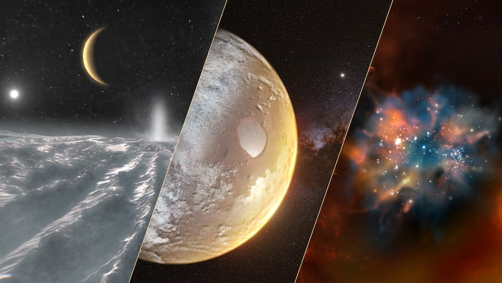 Imagen alegórica de los tres grandes temas escogidos – ESA