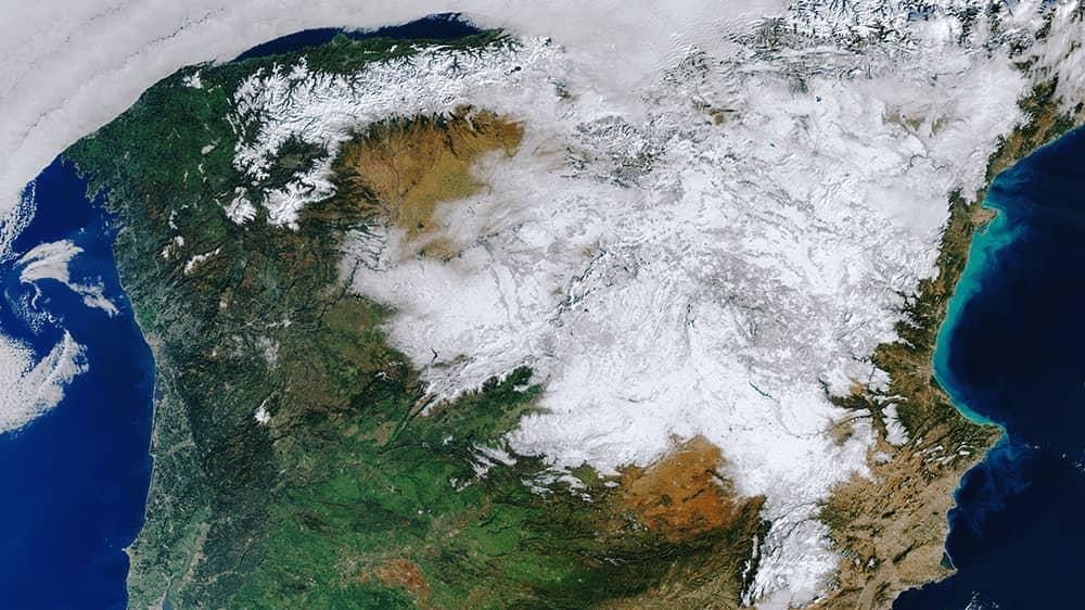 España cubierta de nieve por Filomena – contains modified Copernicus Sentinel data (2021), processed by ESA