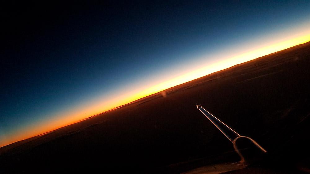 Vista desde la cabina del Falcon 20 de la DLR durante los vuelos de calibración – Thomas Marwick/DLR