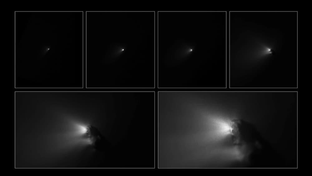 Secuencia de imágenes de la aproximación al Halley de la sonda Giotto – ESA/Giotto/HMC – Copyright MPAe/MPS 1986