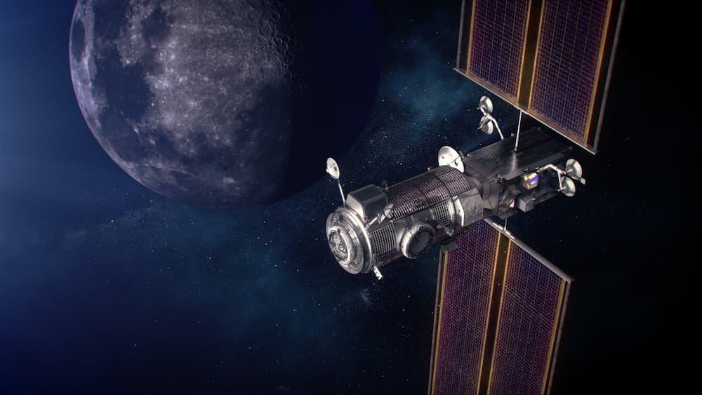 Impresión artística de los dos módulos alrededor de la Luna – NASA