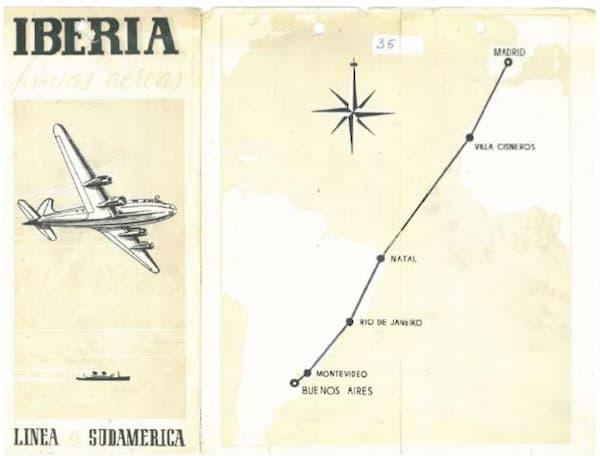 Folleto publicitario de la línea a Buenos Aires – Iberia