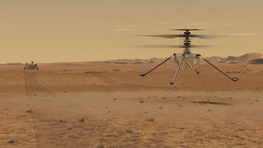 Impresión artística de Ingenuity en vuelo en Marte - NASA/JPL