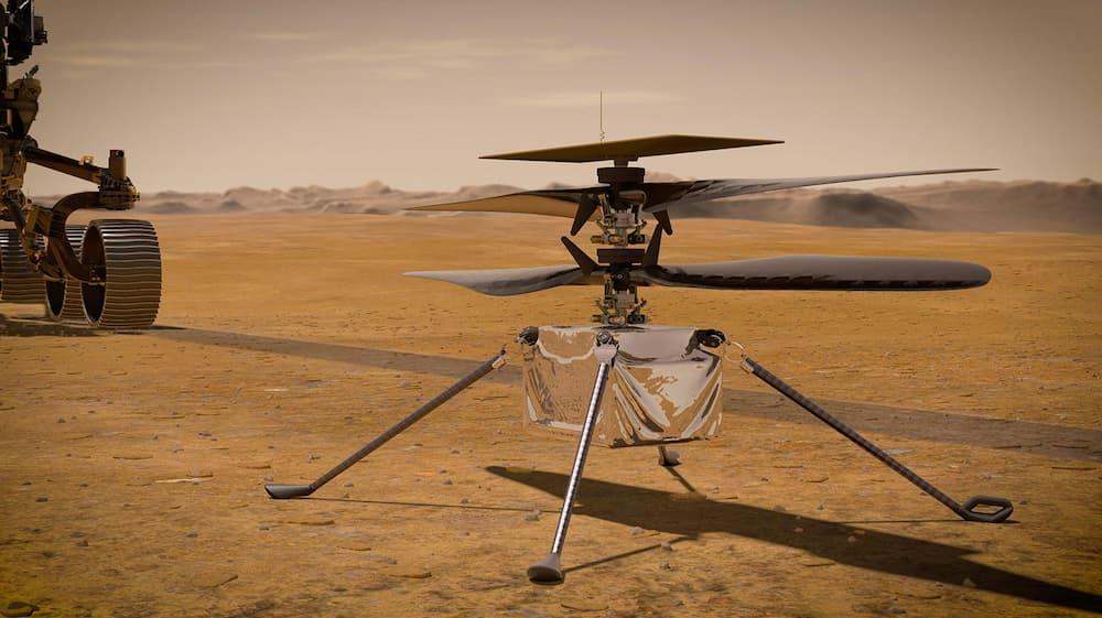 Impresión artística de Ingenuity en Marte frente a Perseverance – NASA/JPL-Caltech