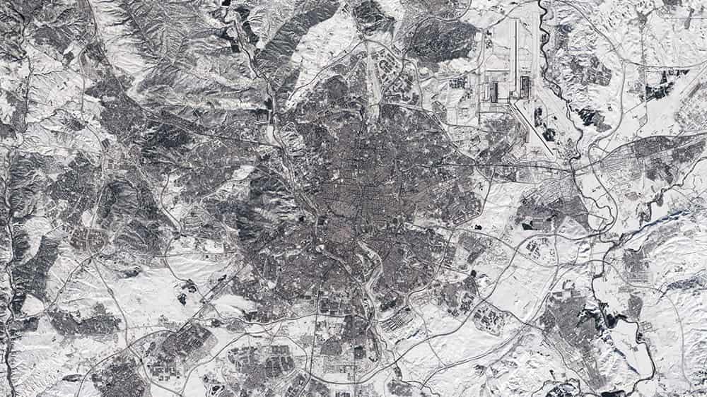 Madrid cubierta de nieve por Filomena – contains modified Copernicus Sentinel data (2021), processed by ESA
