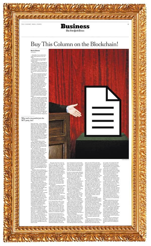 NFT de la imagen de una columna de Kevin Rose – New York Times