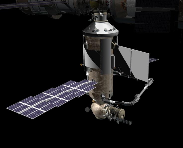 Impresión artística de Nauka acoplado a la EEI – NASA