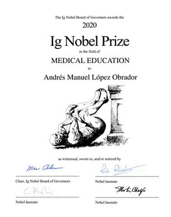 Certificado Ig Nobel de López Obrador