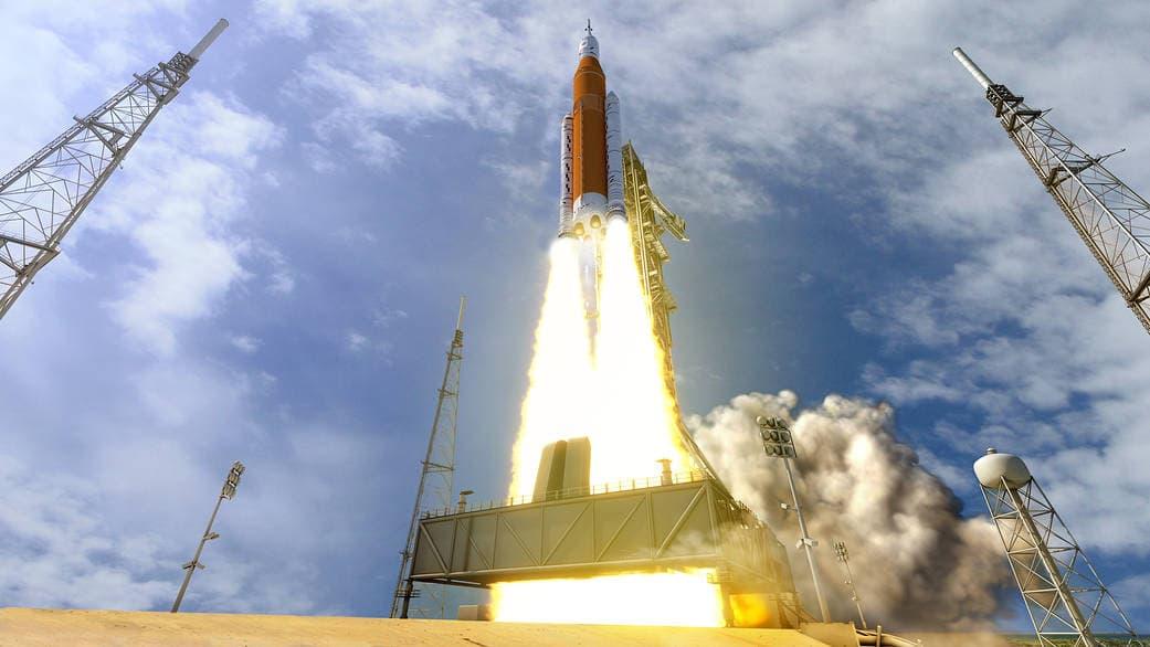 Impresión artística de un SLS despegando – NASA
