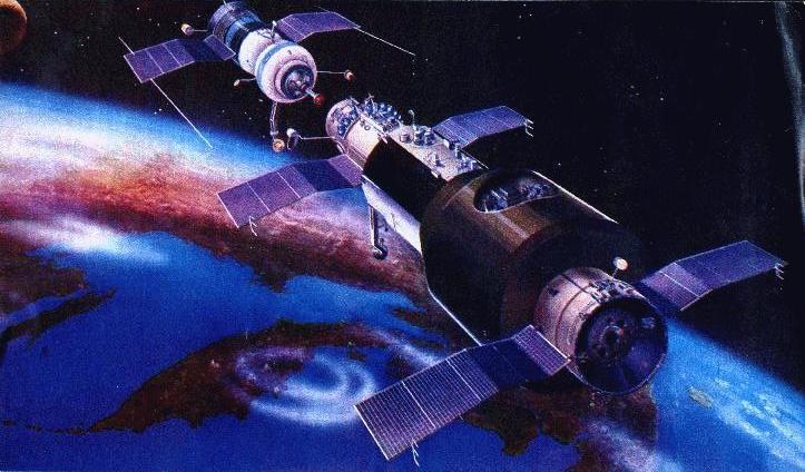 Impresión artística de la Salyut 1 a punto de acoplarse con una Soyuz – Roscosmos