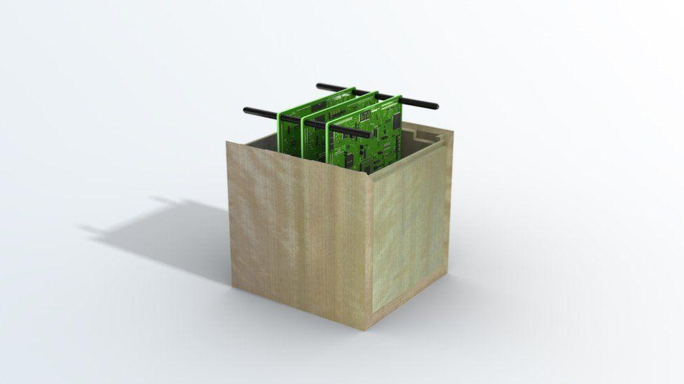 Impresión artística de un satélite artificial con estructura de madera – Sumitomo Forestry