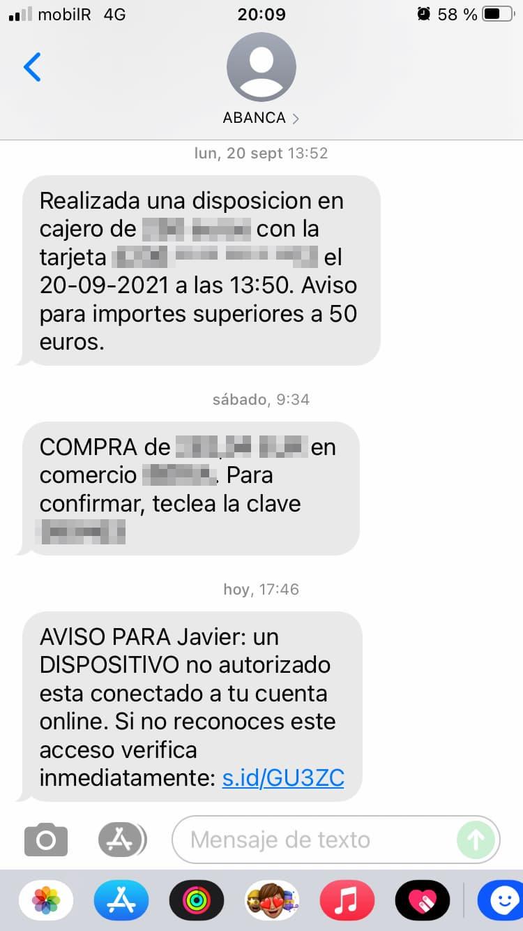 Los SMS de mi banco - o no