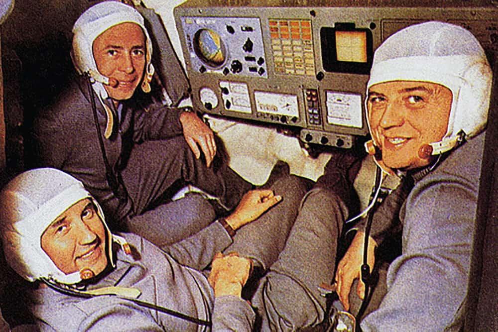 La tripulación de la Soyuz 11 durante uno de sus sus entrenamientos