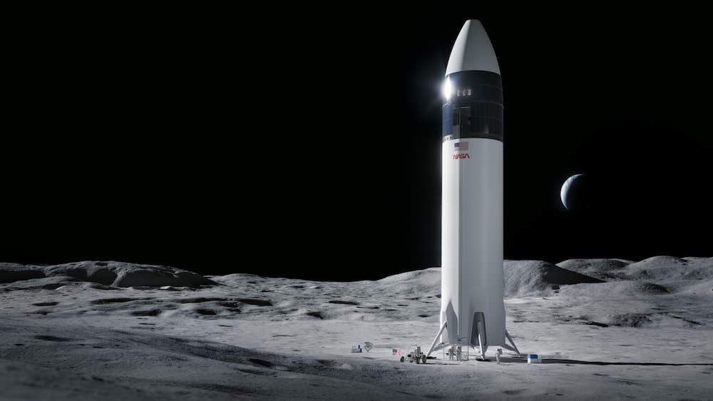 Impresión artística del aterrizador lunar de SpaceX sobre la Luna – NASA/SpaceX