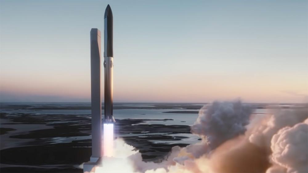 Impresión artística del lanzamiento de un Starship - SpaceX