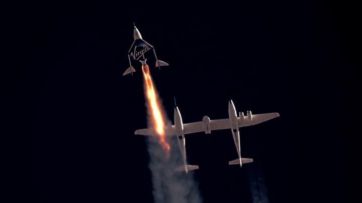 El VSS Unity al principio de uno de sus vuelos «al espacio» – Virgin Galactic