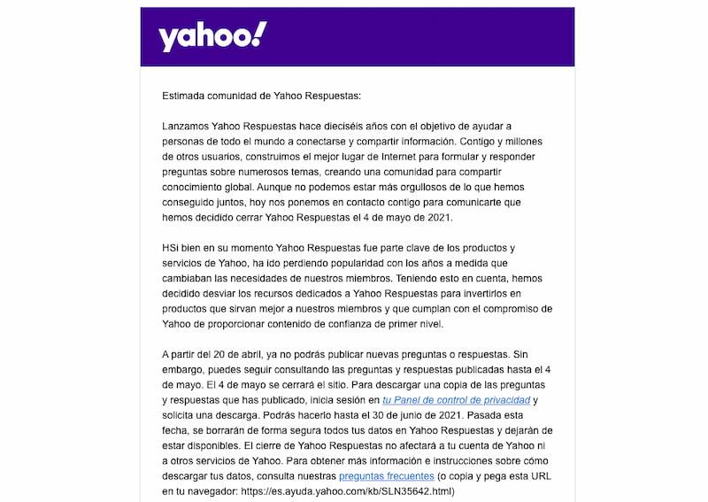 Yahoo Respuestas Cierra
