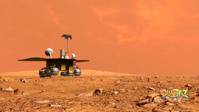 Impresión artística de Zhurong en Marte – CNSA/CLEP