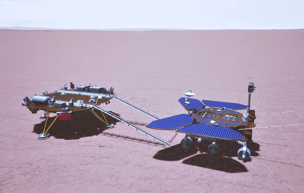 Impresión artística de Zhurong sobre Marte según la telemetría recibida - CNSA