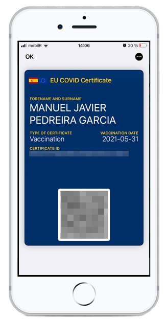 Certificado COVID Digital de la UE en Wallet