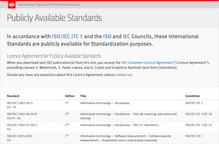 ISO: Publicly Available Standards