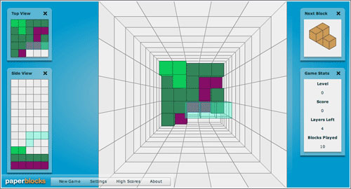 Paper Blocks: Tetris 3-D vía web
