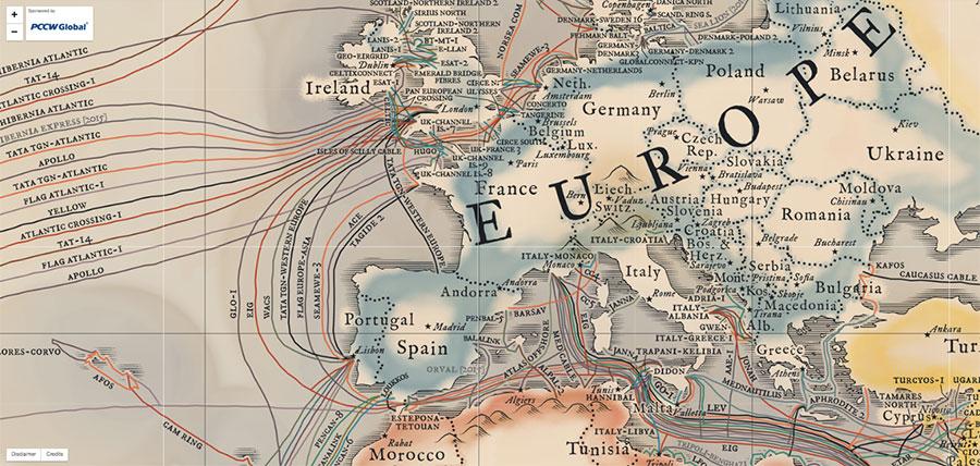 Mapa de los cables submarinos del mundo, versión 2015 / Telegeography
