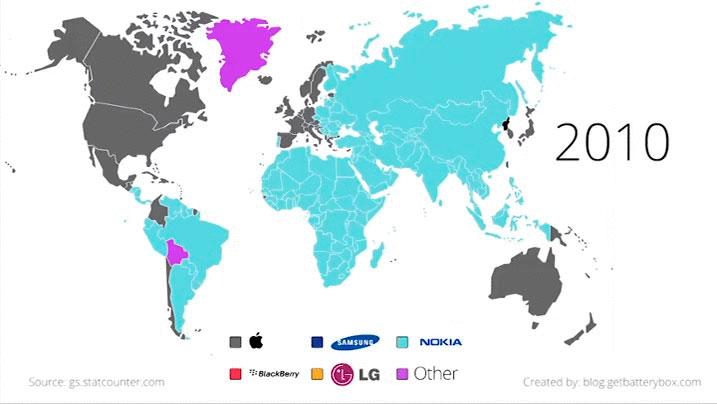 Marcas de teléfonos móviles en el mundo, 2010