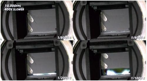 La obturación de una cámara fotográfica vista a 10.000 fps