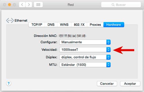 Configuración Mac 1000baseT