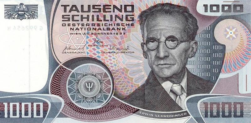 Schrödinger en un billete de 1.000 chelines