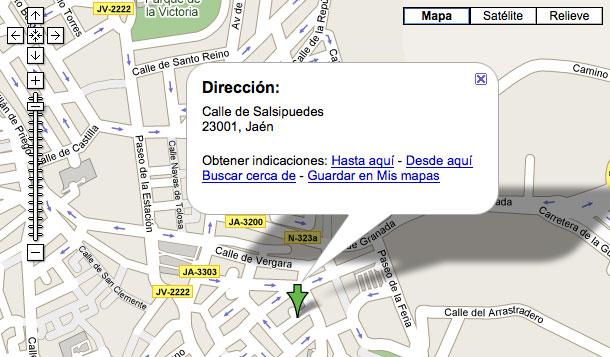 Calle Salsipuedes en Jaén © Google / Tele Atlas