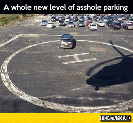Funny Parking Lot Helicopter Pad