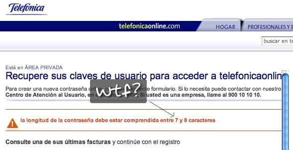 WTF contraseña telefonica online